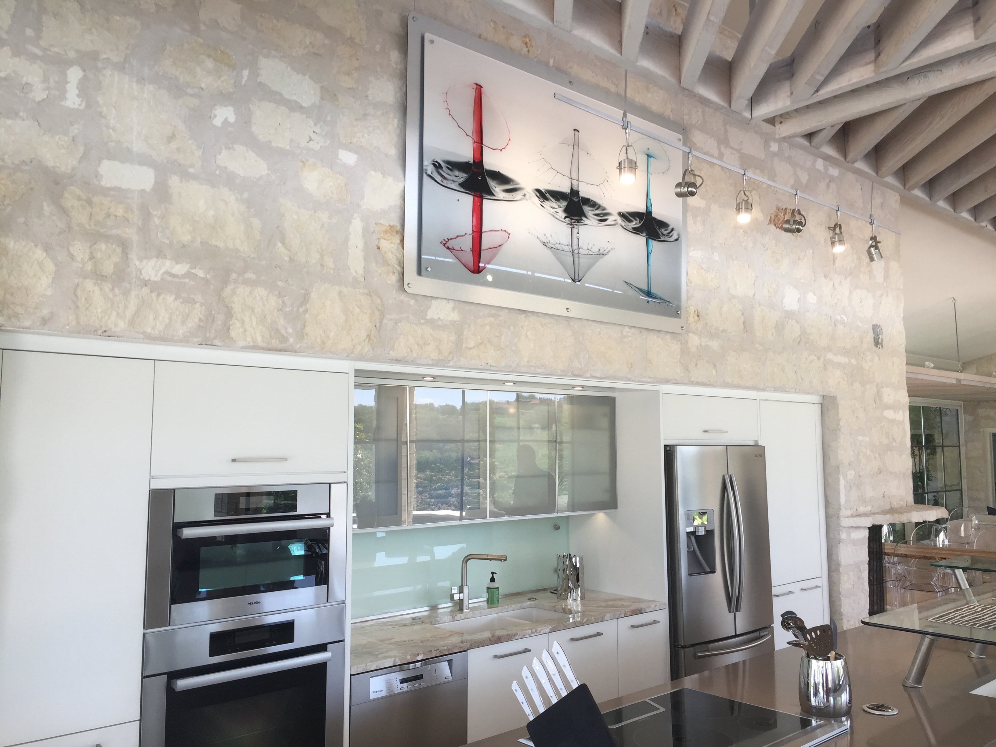 Artwork Mounted on Stone Wall