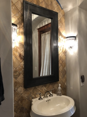 Bathroom Mirror Installed on Tile, Dallas, Texas