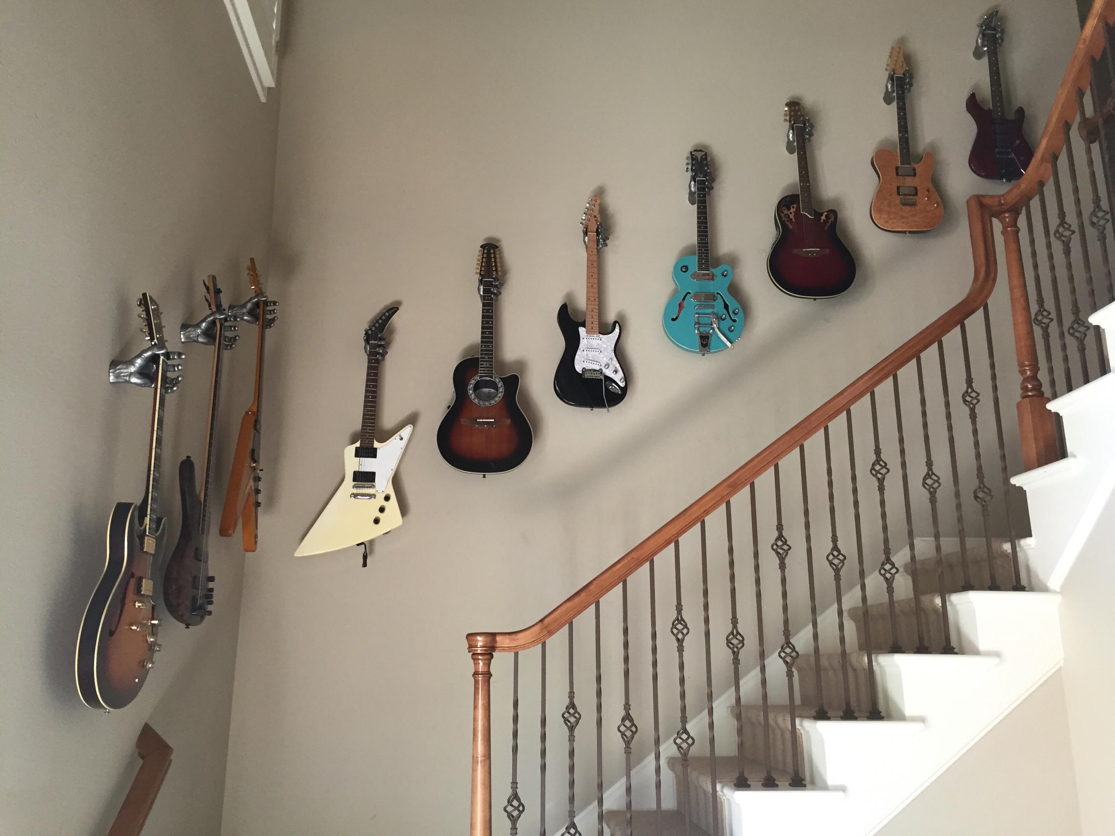 Custom Guitar Wall Hanger Installation, Austin, Texas