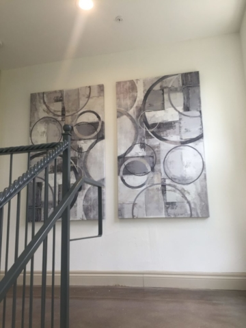 Paintings in Stairway, Bell Quarry Hill, Austin, Texas